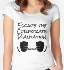 Escape The Corporate Plantation - Black Print Women's Fitted Scoop T-Shirt