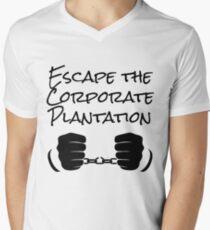 Escape The Corporate Plantation - Black Print Men's V-Neck T-Shirt