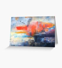 Blue Red Abstract  Greeting Card