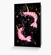 Uni-Prawn In Space - Black Greeting Card