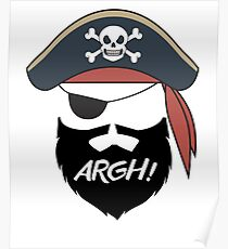 Funny Pirate Mustache Beard Argh Halloween Costume Poster