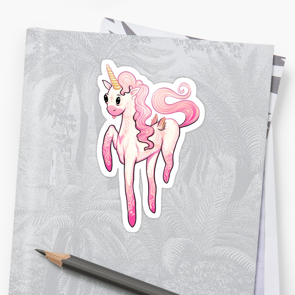 Super Cool Pink Unicorn Pegatina