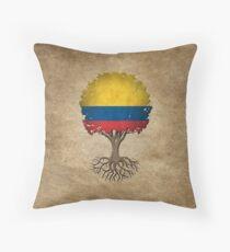 Arbre de vie avec le drapeau colombien Coussin