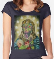 Blessed Reptilian Virgin and Child Women's Fitted Scoop T-Shirt