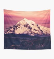 Mount Hood Sunset - Pink Sky over the Columbia River Wall Tapestry