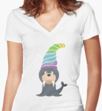 Happy Smiling Seal Pup in Christmas Women's Fitted V-Neck T-Shirt
