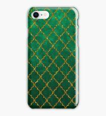 Chic Green Gold Trendy Quatrefoil Glitter Print  iPhone Case/Skin