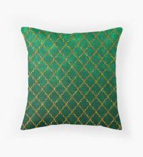 Chic Green Gold Trendy Quatrefoil Glitter Print  Throw Pillow