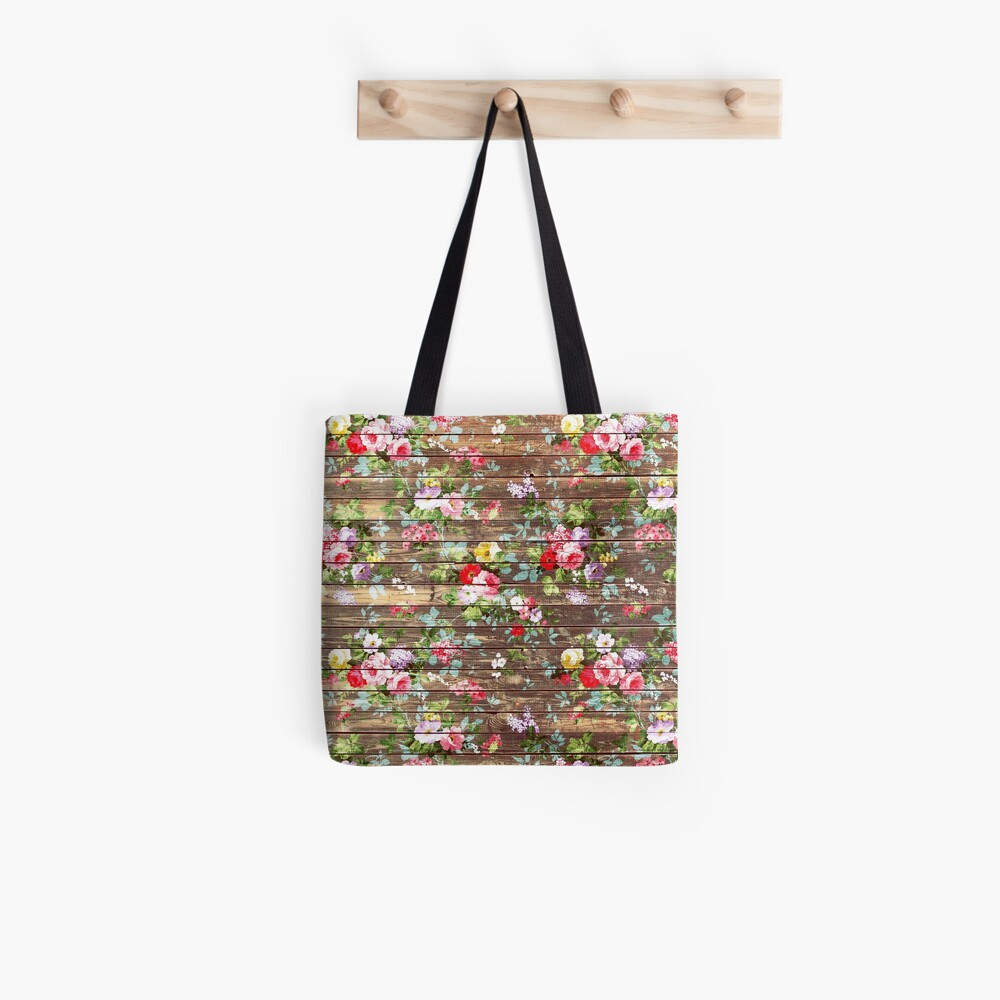 Blumen-rustikales braunes Holz der eleganten rosa Rosen Tote Bag