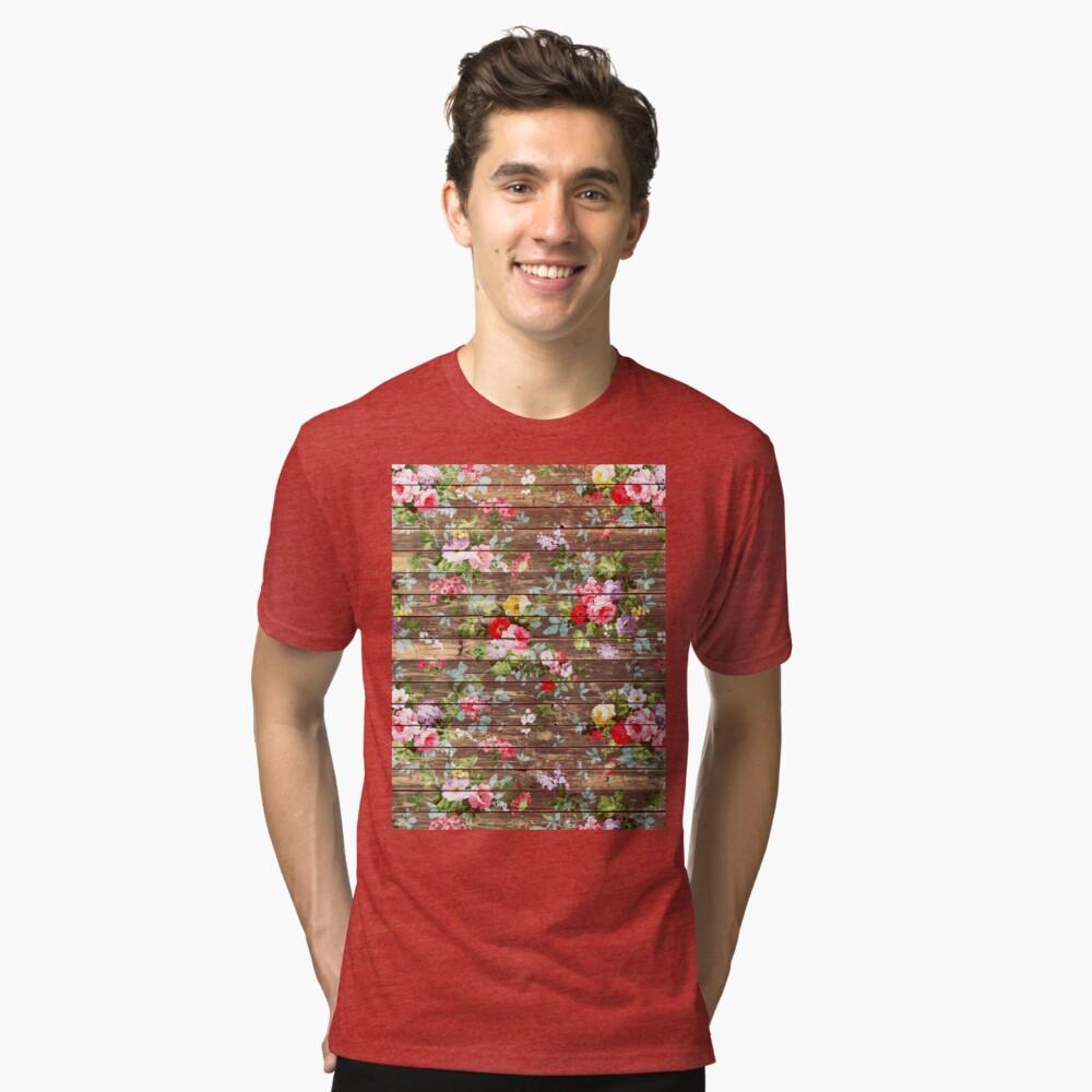 Blumen-rustikales braunes Holz der eleganten rosa Rosen Vintage T-Shirt