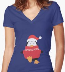 Little Penguin in Ugly Christmas Sweaters Women's Fitted V-Neck T-Shirt