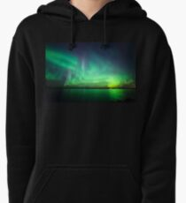 Northern lights over lake Pullover Hoodie