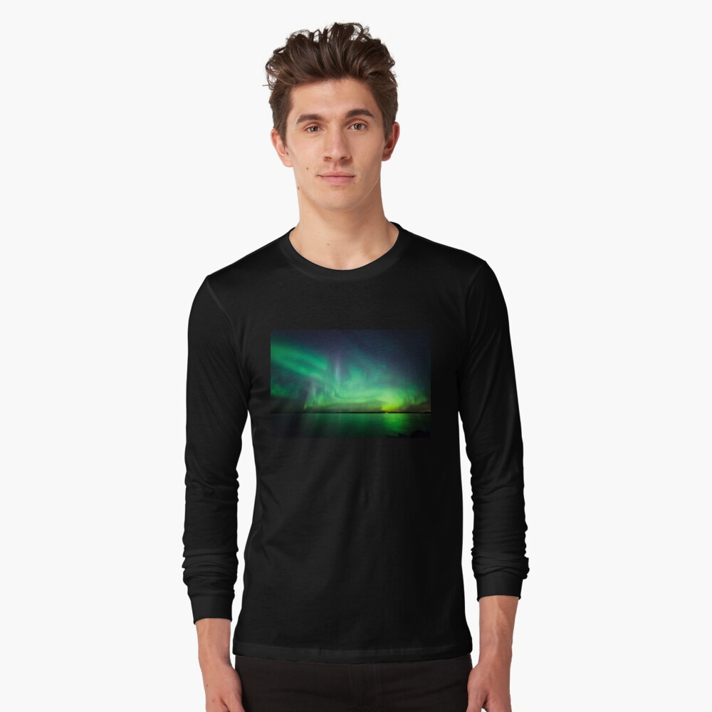 Northern lights over lake Long Sleeve T-Shirt