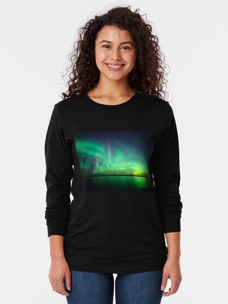 Alternate view of Northern lights over lake Long Sleeve T-Shirt