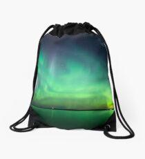 Northern lights over lake Drawstring Bag
