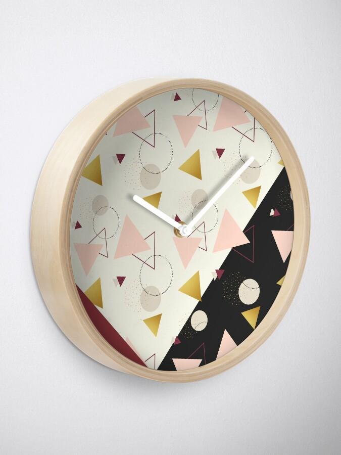 Alternate view of Triangles Mix #redbubble #decor #buyart Clock