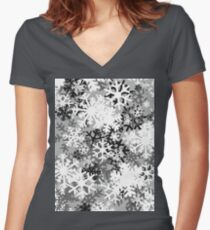 Snowflake Camo Women's Fitted V-Neck T-Shirt