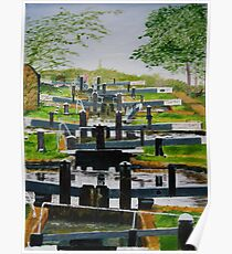 Looking down Audlem locks from lock No. 8 Poster