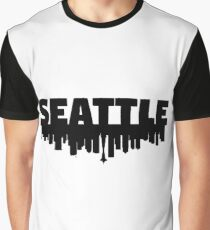 Seattle and Skyline - White Graphic T-Shirt