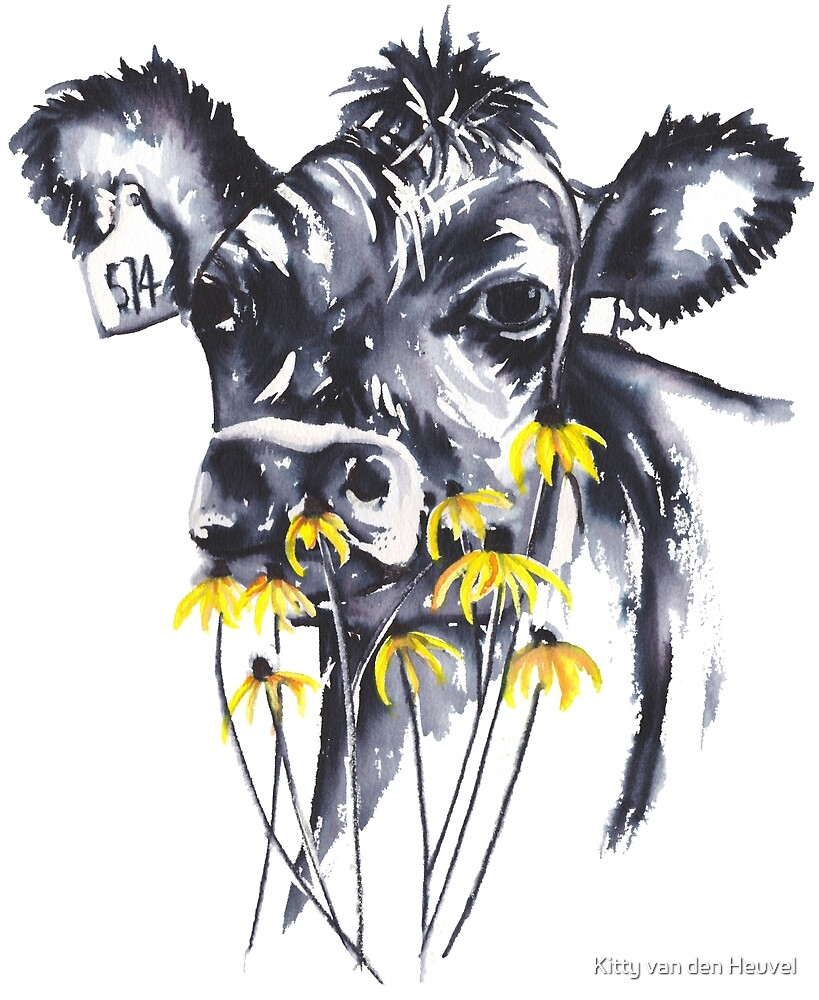 No worries - cow painting by Kitty van den Heuvel