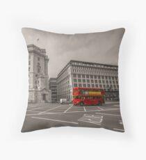 London UK Red Bus Black & White Scene Throw Pillow