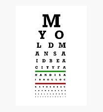 Eye Chart - Aston Villa FC - My Old Man Said Photographic Print