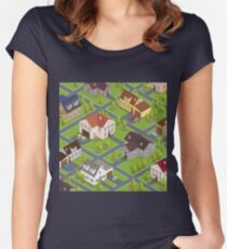 Isometric Cityscape. Isometric Buildings. Isometric Houses. Isometric Cottages. Isometric City. Modern Houses. Isometric Cars.  Women's Fitted Scoop T-Shirt