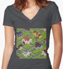 Isometric Cityscape. Isometric Buildings. Isometric Houses. Isometric Cottages. Isometric City. Modern Houses. Isometric Cars.  Women's Fitted V-Neck T-Shirt