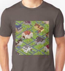 Isometric Cityscape. Isometric Buildings. Isometric Houses. Isometric Cottages. Isometric City. Modern Houses. Isometric Cars.  T-Shirt