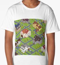 Isometric Cityscape. Isometric Buildings. Isometric Houses. Isometric Cottages. Isometric City. Modern Houses. Isometric Cars.  Long T-Shirt