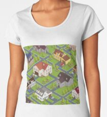 Isometric Cityscape. Isometric Buildings. Isometric Houses. Isometric Cottages. Isometric City. Modern Houses. Isometric Cars.  Women's Premium T-Shirt