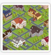 Isometric Cityscape. Isometric Buildings. Isometric Houses. Isometric Cottages. Isometric City. Modern Houses. Isometric Cars.  Sticker