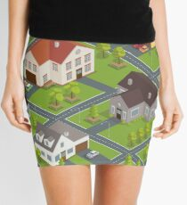 Isometric Cityscape. Isometric Buildings. Isometric Houses. Isometric Cottages. Isometric City. Modern Houses. Isometric Cars.  Mini Skirt