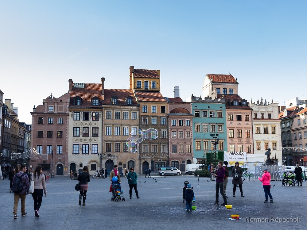 Old town bubbles - Warsaw Poland by Norman Repacholi