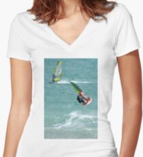 Windsurfing, Cottesloe Beach, Perth Women's Fitted V-Neck T-Shirt