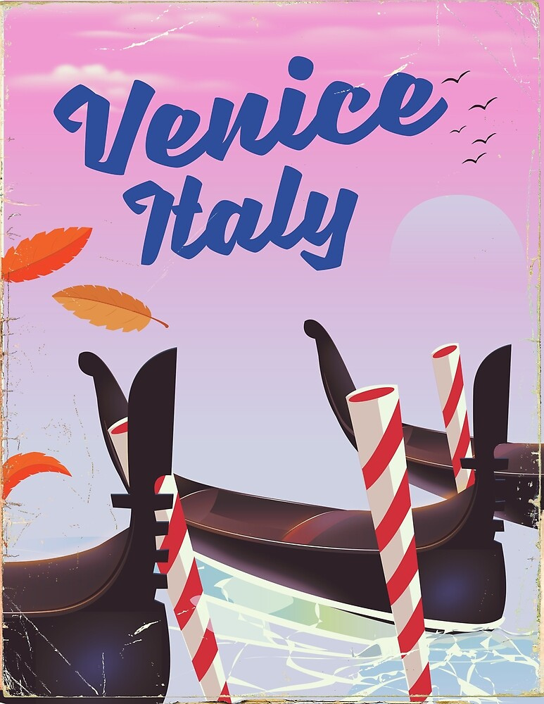 Venice Italy travel poster by vectorwebstore