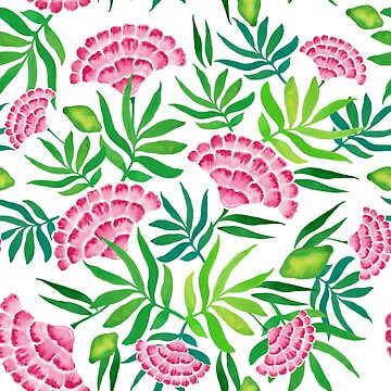 Tropical flowers watercolor pattern by MariaMahar