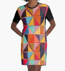 Square Triangles 2 Colorful Diamond Pattern Graphic T-Shirt Dress