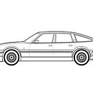 Rover SD1 Vitesse Outline Drawing by RJWautographics