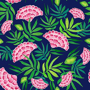 Tropical flowers watercolor pattern on dark blue background by MariaMahar