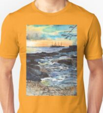 Sunset in paradise - monoprint with watercolors T-Shirt