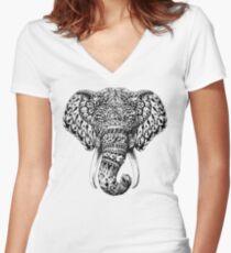 Camiseta entallada de cuello en V Cabeza de elefante adornado