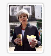 Theresa May in Cornwall with a fag and a tinny Sticker