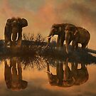 Elephants by the waterhole by WickedLola