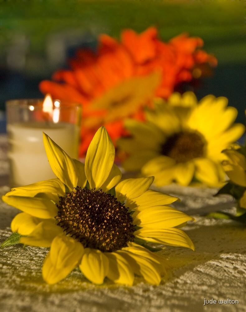 wedding sunflowers at sunset by jude walton