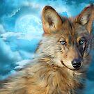 Wolf In Moonlight 2 by Carol  Cavalaris