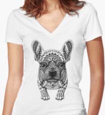 Camiseta entallada de cuello en V Frenchie (Bulldog Francés)