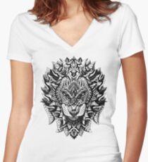 Verzierter Löwe Shirt mit V-Ausschnitt