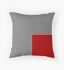 Geometric abstraction, B/W stripes red square Throw Pillow