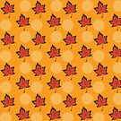 Red maple leaves pattern by Silvia Ganora